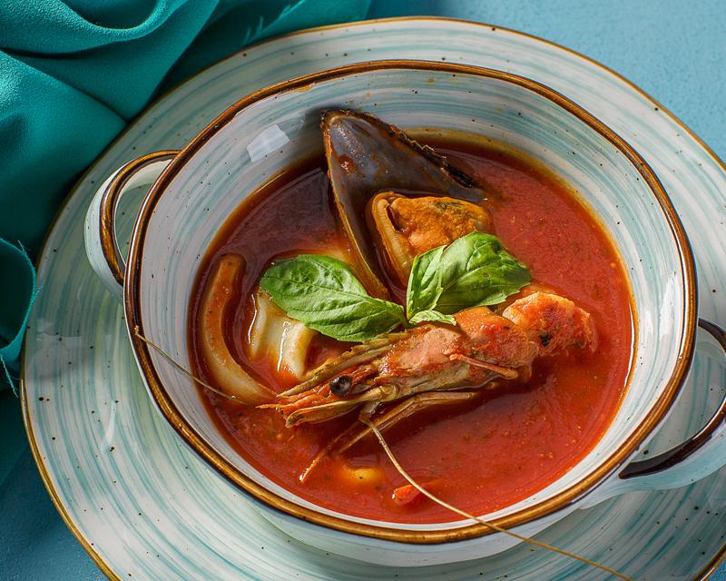 Суп томатный средиземноморский с морепродуктами
